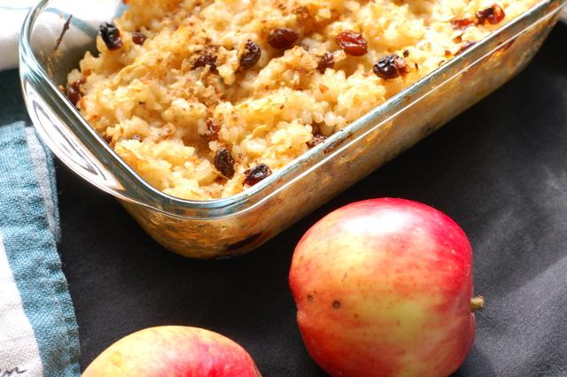 zapiekany ryż okrągły pełnoziarnisty z jabłkami